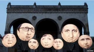 """Карикатура, изображающая лидеров """"Большой семерки"""""""
