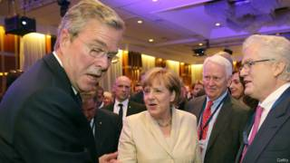 Джеб Буш (слева) и Ангела Меркель
