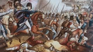 Representación de la batalla de Waterloo