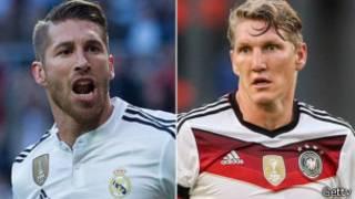 Ramos akinira Real Madrid naho Schweinsteiger akinira Bayern Munich.