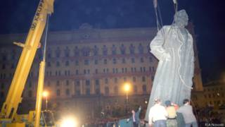Демонтаж памятника Дзержинскому на Лубянке 24 августа 1991 г.