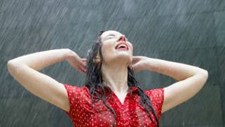 A woman in rain