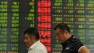 شاشة التداول في البورصة الصينية