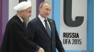 Президент Ирана Хасан Роухани и президент России Владимир Путин на саммите БРИКС в Уфе