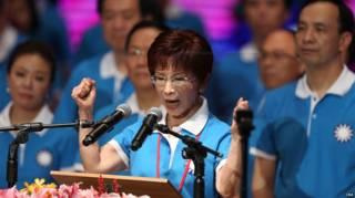 洪秀柱在國民黨大會上發表演說(台灣中央社圖片19/7/2015)