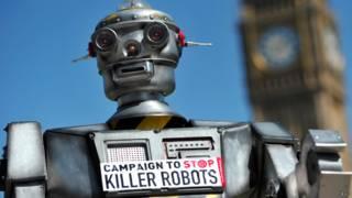"""2013年在伦敦举办的""""停止制造杀人机器人""""活动。"""