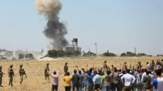 Авиаудар США по Кобани, вид с турецкой стороны