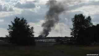 Над местом падения самолета поднимался дым