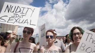 कनाडा के ओनटैरिओ में महिलाओं का विरोध प्रदर्शन