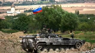 Российский танк в селе Ингети