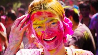 A woman at Holi