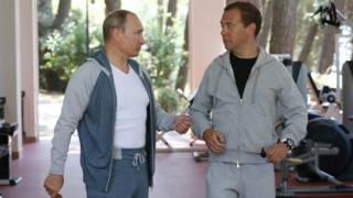 Путин и Медведев вместе сделали зарядку и позавтракали