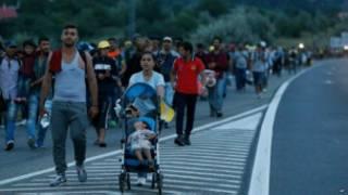 Illegal migrants towards Austria