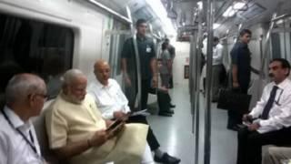 फ़रीदाबाद मेट्रो में प्रधानमंत्री नरेंद्र मोदी