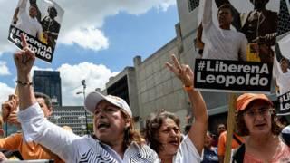simpatizantes de Leopoldo López en Caracas
