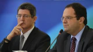Ministros brasileños de Hacienda, Joaquim Levy, y de Planificación, Nelson Barbosa