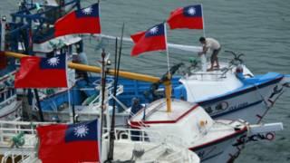 2012年在蘇澳漁港聲援保衛釣魚台運動的漁船。