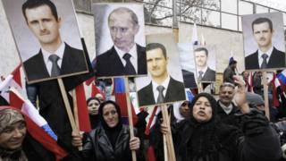 Manifestación pro Assad y Putin