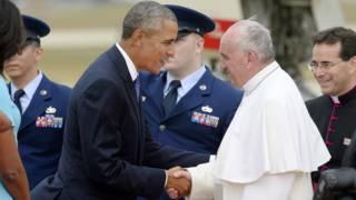 Обама встречает папу Франциска