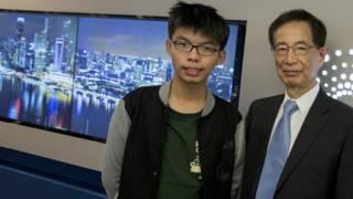 学民思潮召集人黄之锋及香港民主党创党主席李柱铭