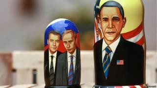 Изображения Путина, Медведева, Обамы