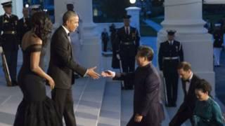 奧巴馬夫婦在白宮接待到訪的習近平夫婦