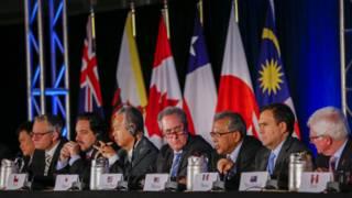 Representantes de 12 países no anúncio da TPP (Foto: Erik S. Lesser/EPA)
