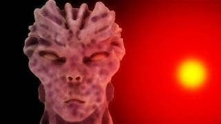 Лицо пришельца на красном фоне