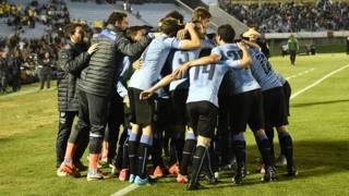 Selección uruguaya celebrando