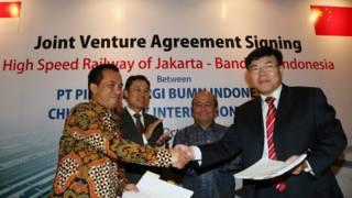 中國印尼簽署合約,中國取得印尼高鐵的項目。