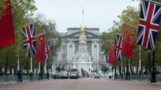 伦敦白金汉宫前林荫路上的中英两国国旗(18/10/2015)