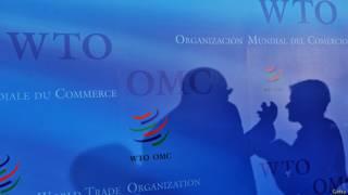 Тени спорящих на фоне логотипа ВТО
