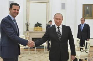 Башар Асад во время встречи с Владимиром Путиным, Москва, 20 октября 2015 г.