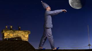 Лунатик на крыше ночью