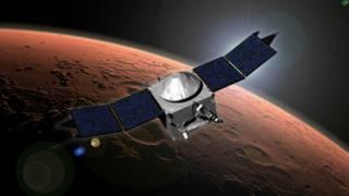 Ilustración de la sonda de la misión Maven acercándose a Marte