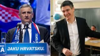 Главные соперники на всеобщих выборах в Хорватии: слева Томислав Карамарко, справа Зоран Миланович