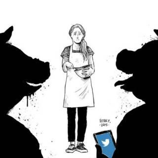 El acoso a Valentina Shulz. Caricatura de Vitor Teixeira.