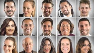 Лица улыбающихся людей