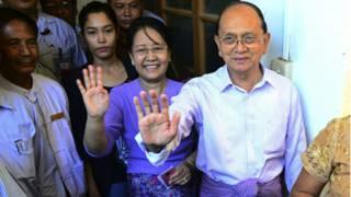 緬甸總統登盛於妻子周日到票站投票