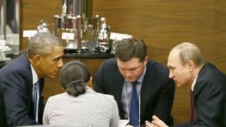 Барак Обама и Владимир Путин на саммите G20 в Турции