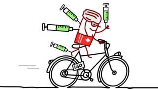Карикатура: велосипедист, утыканный шприцами