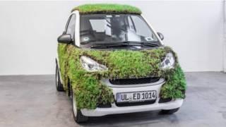 Contra poluição, alemães testam carro coberto de grama