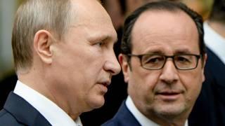 Владимир Путин и Франсуа Олланд в Минске, начало 2015 года