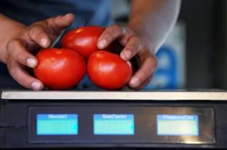 Продавец взвешивает помидоры на одном из рынков