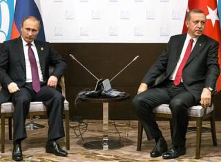Президенты России и Турции Владимир Путин и Реджеп Тайип Эрдоган