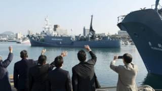 「科研捕鯨」船隊已從日本西南的山口下關,啟程前往南郊海域。
