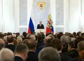 Владимир Путин выступает с ежегодным посланием Федеральному Собранию 3 декабря 2015 г.