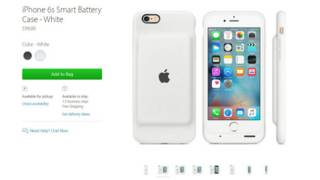 Captura de pantalla de la tienda online de Apple que muestra la nueva carcasa con batería para los iPhone 6 y 6S.