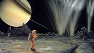 Ilustración ficticia de una misión a Encélado