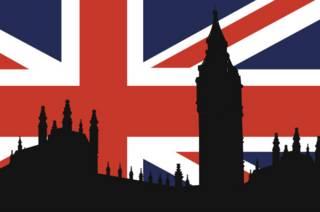 Силует парламента на фоне британского флага